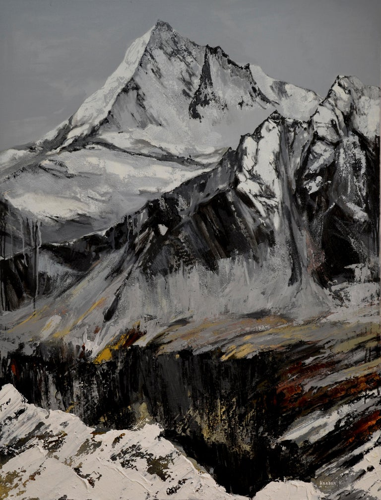 """""""Mountain Rock"""" is an impressionist painting, oil on linen by Maestro Vira Hrabar.  The painting is unframed.  """"The impressions of Vira's paintings on the viewer is so mighty, mesmerizing, grand, that it paralyzes the imagination and leaves no"""
