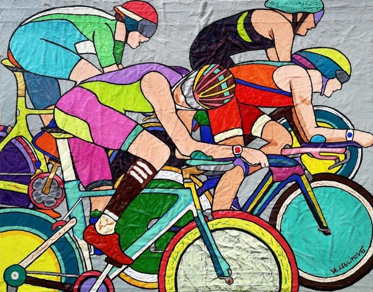 """""""Tour De France"""" is a painting by Maestro Vlado Vesselinov.  About the painting: Style and Technic: POP ART, Contemporary, Acrylic paint, oil on canvas  The painting is unframed.  """"The impressions of artist's paintings on the viewer is so mighty,"""