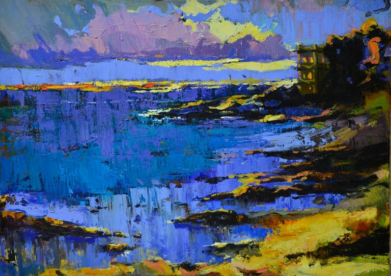 """""""Lake"""" is an impressionist painting, oil on linen by Maestro Vira Hrabar.  The painting is unframed.  """"The impressions of Vira's paintings on the viewer is so mighty, mesmerizing, grand, that it paralyzes the imagination and leaves no option.  Her"""