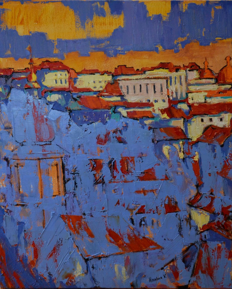 """""""Old Town"""" is an impressionist painting, oil on linen by Maestro Vira Hrabar.  The painting is unframed.  """"The impressions of Vira's paintings on the viewer is so mighty, mesmerizing, grand, that it paralyzes the imagination and leaves no option."""