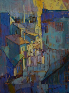 Prague - Landscape Painting Colors Blue Yellow Grey Green Black Brown