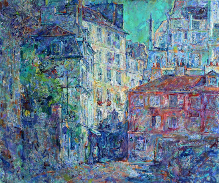 """""""""""Rue De l`Abbaye - Paris"""" is an impressionist painting by Maestro Elena Georgieva.  The painting is unframed.  """"The impressions of Elena Georgieva's paintings on the viewer is so mighty, mesmerizing, grand, that it paralyzes the imagination.  Her"""