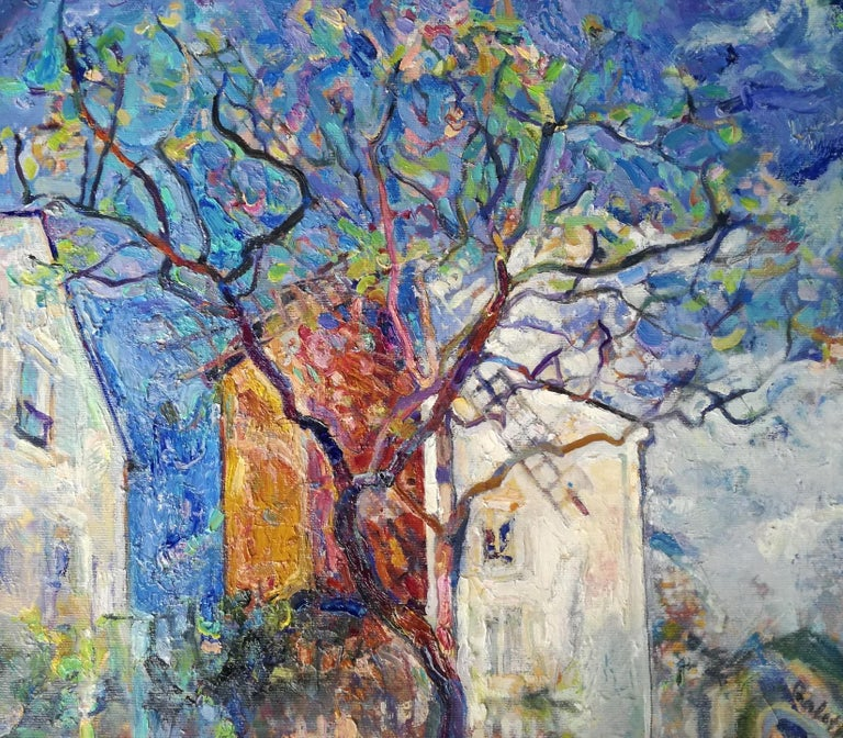 """""""""""Le Moulin de la Galette - Paris"""" is an impressionist painting by Maestro Elena Georgieva.  The painting is unframed.  """"The impressions of Elena Georgieva's paintings on the viewer is so mighty, mesmerizing, grand, that it paralyzes the"""