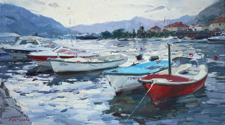 """Early Evening in Kotor"" is an impressionist painting, oil on canvas by Maestro Nataliya Tretykova.  The painting is unframed.  ""The impressions of Maestro Nataliya Tretykova's paintings on the viewer is so mighty, mesmerizing, grand, that it"