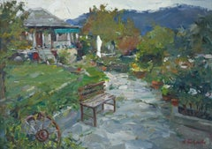 Old Village In Greece - Landscape Oil Painting Green White Blue Black Brown Grey