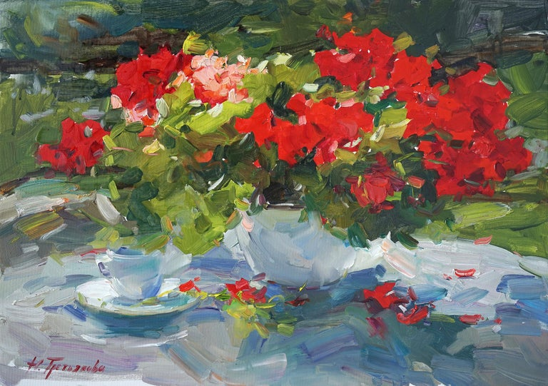 """""""Geranium"""" is an impressionist painting, oil on canvas by Maestro Nataliya Tretykova.  The painting is unframed.  """"The impressions of Maestro Nataliya Tretykova's paintings on the viewer is so mighty, mesmerizing, grand, that it paralyzes the"""