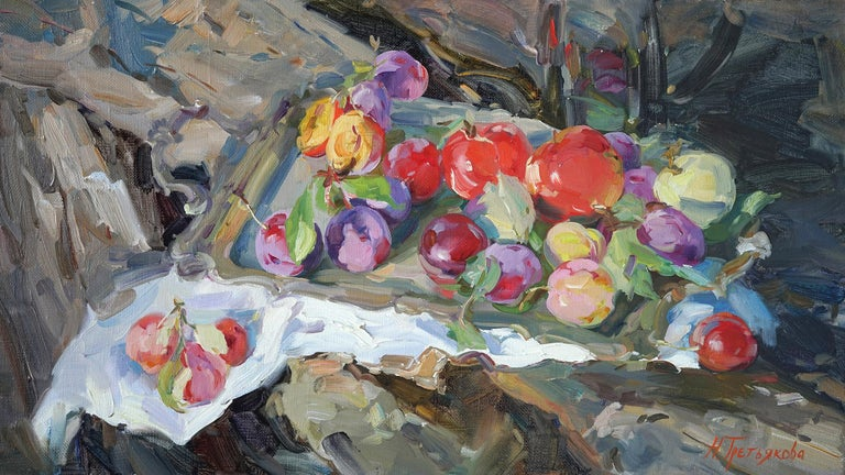 """""""Plums and Apples"""" is an impressionist painting, oil on canvas by Maestro Nataliya Tretykova.  The painting is unframed.  """"The impressions of Maestro Nataliya Tretykova's paintings on the viewer is so mighty, mesmerizing, grand, that it paralyzes"""