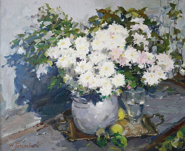 """""""White Chrysanthemums"""" is an impressionist painting, oil on canvas by Maestro Nataliya Tretykova.  The painting is unframed.  """"The impressions of Maestro Nataliya Tretykova's paintings on the viewer is so mighty, mesmerizing, grand, that it"""