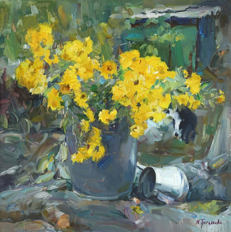 """Lemon Chrysanthemums"" is an impressionist painting, oil on canvas by Maestro Nataliya Tretykova.  The painting is unframed.  ""The impressions of Maestro Nataliya Tretykova's paintings on the viewer is so mighty, mesmerizing, grand, that it"