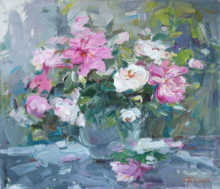 """""""Peonies"""" is an impressionist painting, oil on canvas by Maestro Nataliya Tretykova.  The painting is unframed.  """"The impressions of Maestro Nataliya Tretykova's paintings on the viewer is so mighty, mesmerizing, grand, that it paralyzes the"""