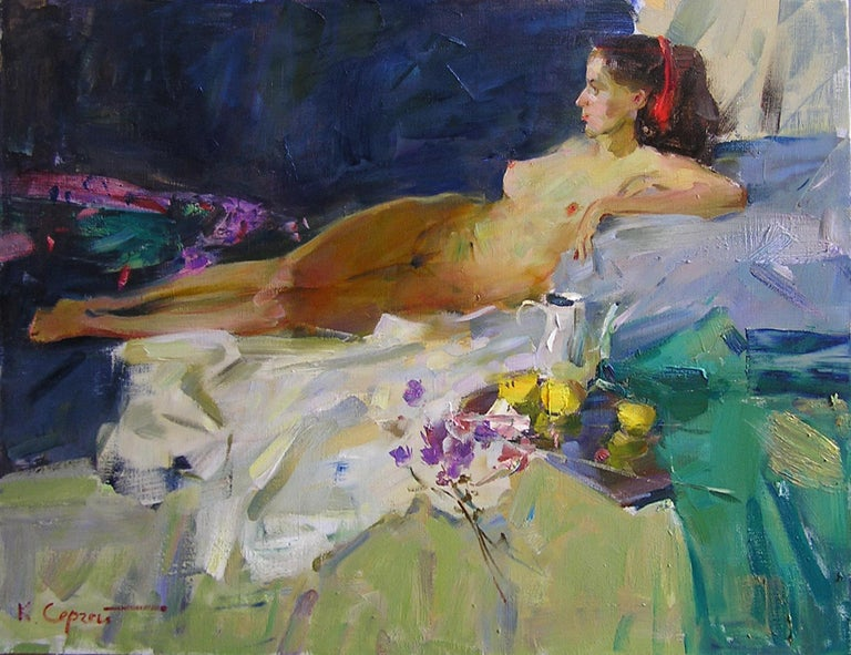 """Thinking"" is a nude body painting by the impressionist Sergei Kovalenko.  The painting has no frame.  ""The impressions of Maestro Kovalenko's paintings on the viewer is so mighty, mesmerizing, grand, that it paralyzes the imagination and leaves  no"