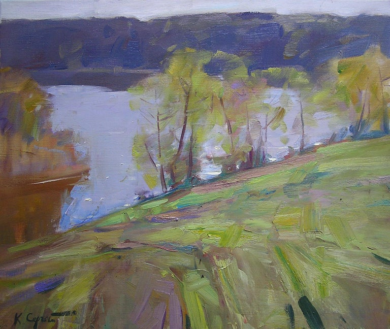 """""""By The Lake"""" is a landscape painting by the impressionist Sergei Kovalenko.  The painting has no frame.  """"The impressions of Maestro Kovalenko's paintings on the viewer is so mighty, mesmerizing, grand, that it paralyzes the imagination and leaves"""