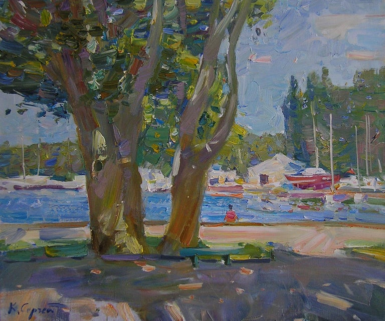 """""""Nikolaev's Place"""" is a landscape painting by the impressionist Sergei Kovalenko.  Dear art lovers,  if you like the art of maestro Sergei Kovalenko please click the link to follow this artist and art gallery Snow Pearl to discover all our artists"""