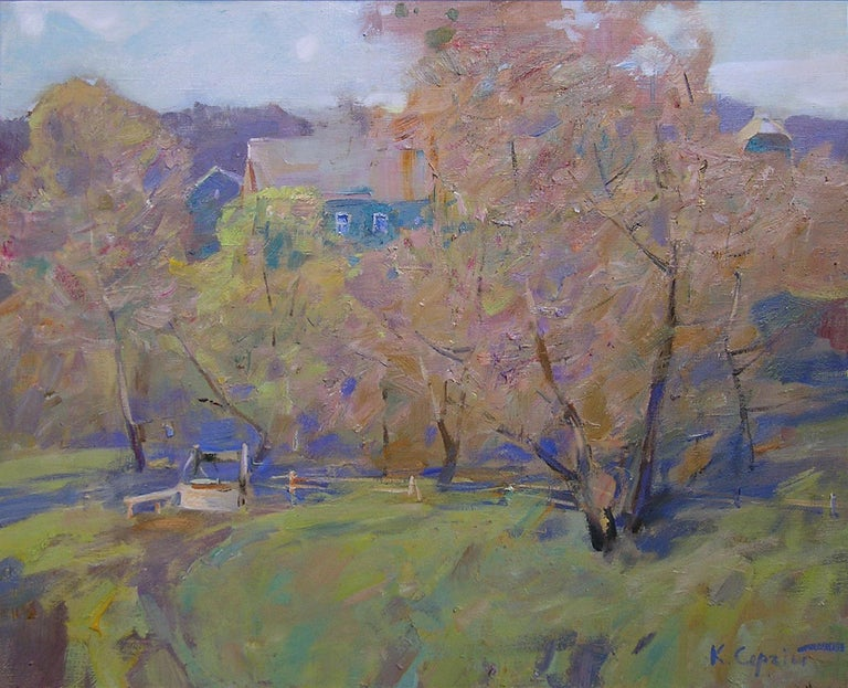 """""""Autumn"""" is a landscape painting by the impressionist Sergei Kovalenko.  Dear art lovers,  if you like the art of maestro Sergei Kovalenko please click the link to follow this artist and art gallery Snow Pearl to discover all our artists and"""