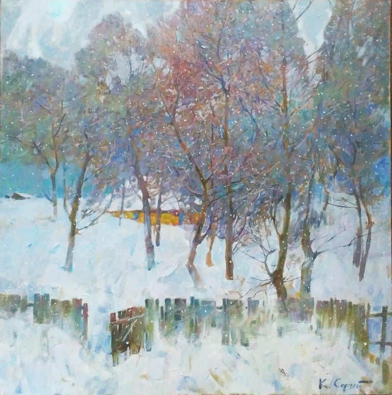 """My Winter Garden"" is a landscape painting by the impressionist Sergei Kovalenko.  Dear art lovers,  if you like the art of maestro Sergei Kovalenko please click the link to follow this artist and art gallery Snow Pearl to discover all our artists"