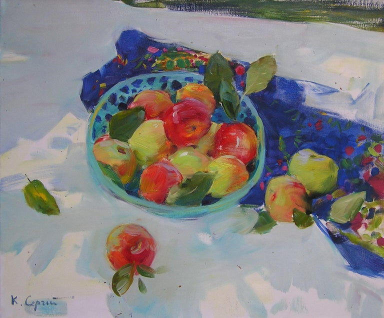 """""""Apples"""" is a still-life painting by the impressionist Sergei Kovalenko.  Dear art lovers,  if you like the art of maestro Sergei Kovalenko please click the link to follow this artist and art gallery Snow Pearl to discover all our artists and"""