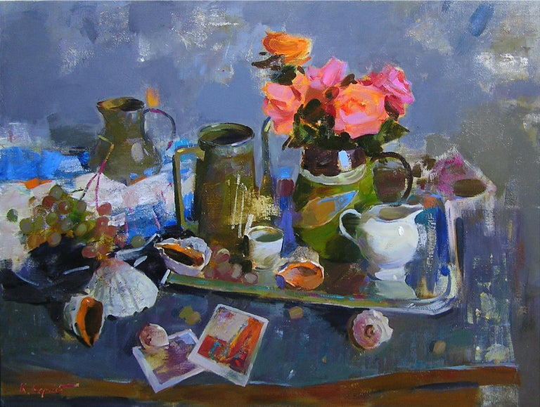 """""""Still-Life With Shells"""" is a still-life painting by the impressionist Sergei Kovalenko.  Dear art lovers,  if you like the art of maestro Sergei Kovalenko please click the link to follow this artist and art gallery Snow Pearl to discover all our"""