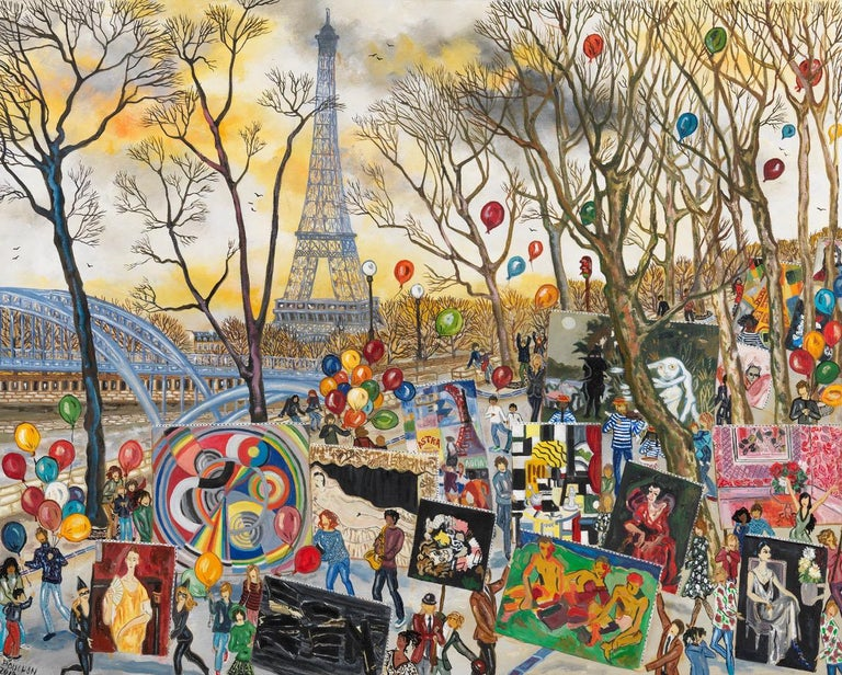 Bouchon Figurative Painting - Party At The Eiffel Tower