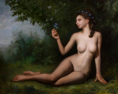 Forest Nymph - Figurative Nude Oil Painting Colors Brown Grey Pale Blue Green