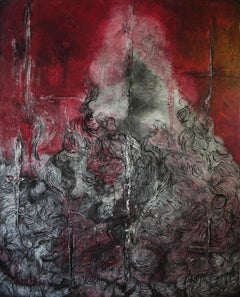 The Fire Goddess - Japan Abstract Painting Oil Canvas Color Red Black Grey White