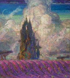 Le Chateau D'Avignon Oil Landscape Painting Colors Purple Green Brown Blue White