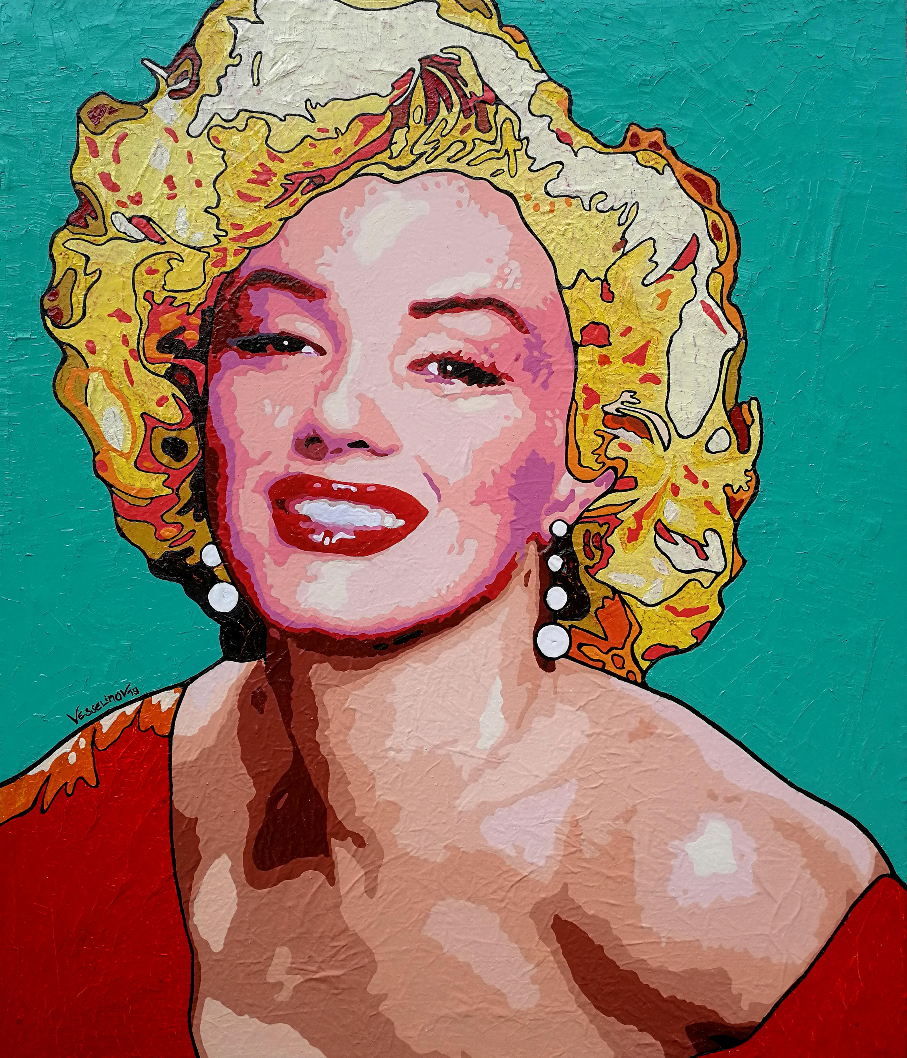 Marilyn Monroe - Painting Pop Art Red Green Purple Brown White Yellow Pink