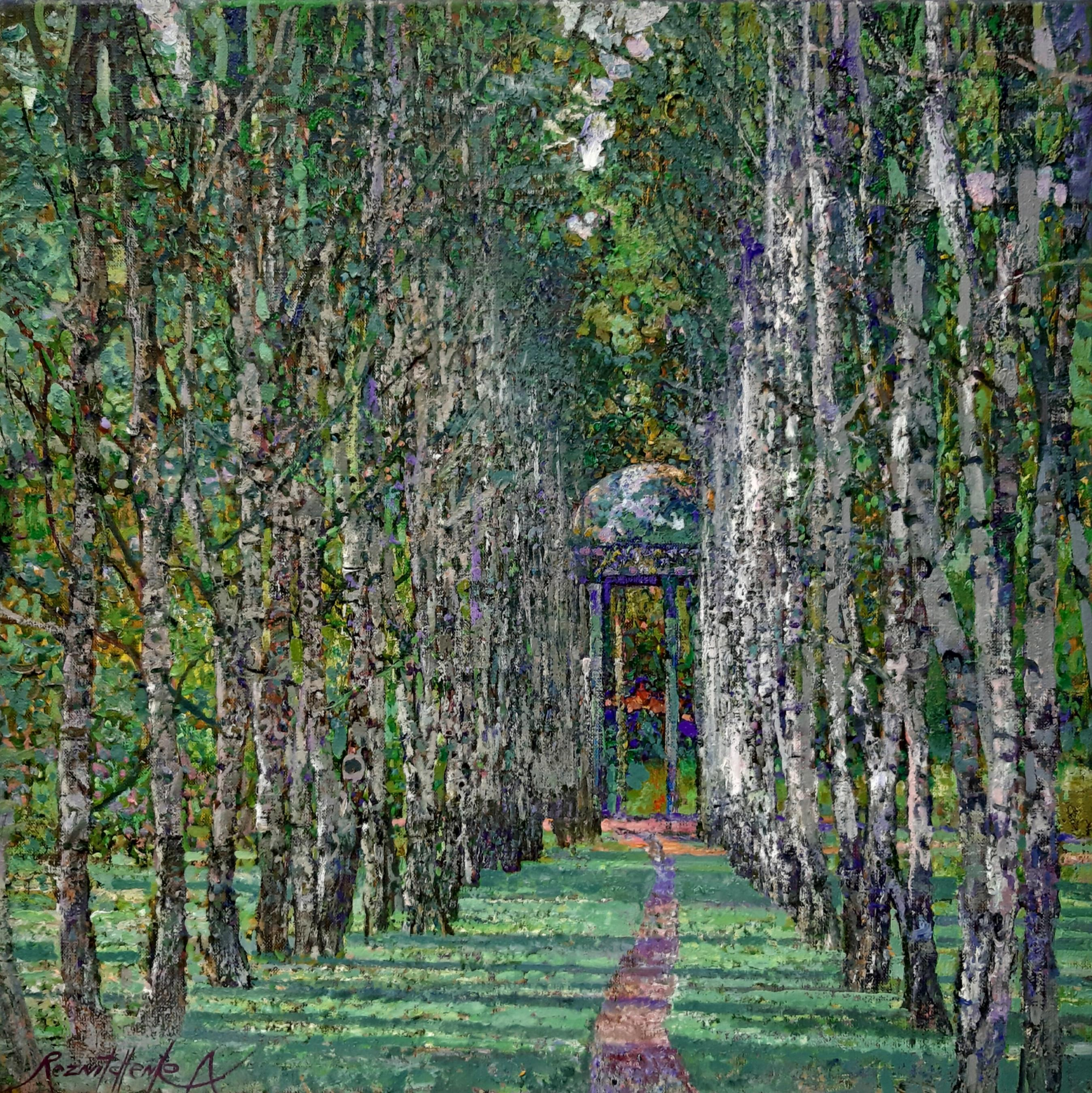 Walkway At Midday Landscape Painting Canvas Oil Colors Green White Purple Brown
