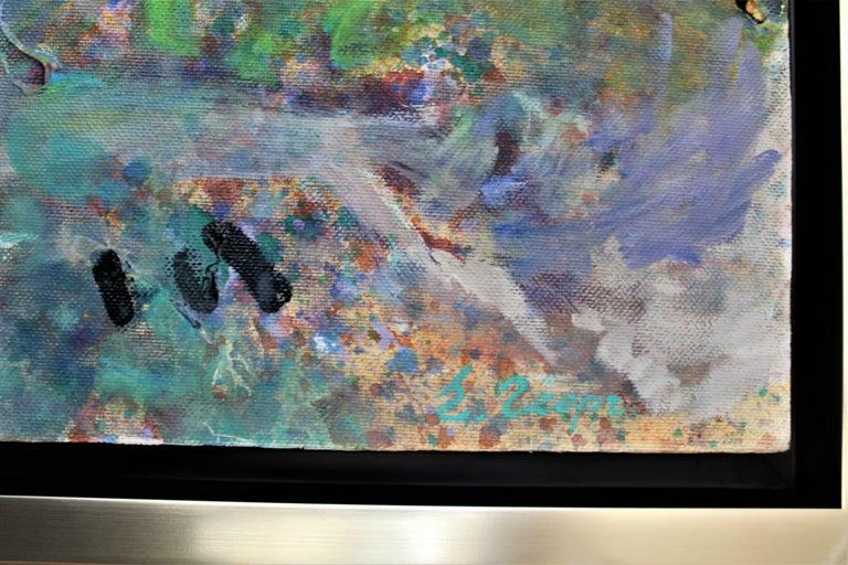 Seven Rila Lakes - Gray Landscape Painting by Elena Georgieva