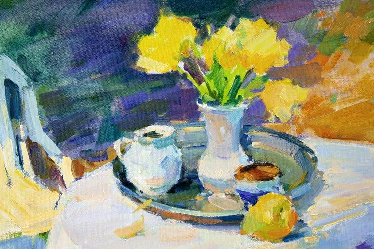Still Life In The Spring Garden - Impressionist Painting by Aleksandr Kryushyn