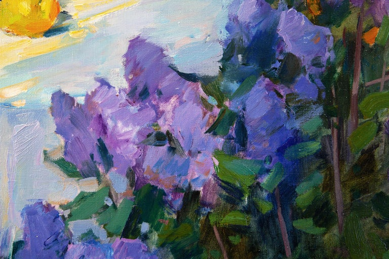 Still Life In The Spring Garden - Purple Landscape Painting by Aleksandr Kryushyn