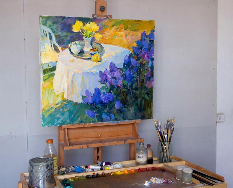 Still Life In The Spring Garden - Painting by Aleksandr Kryushyn