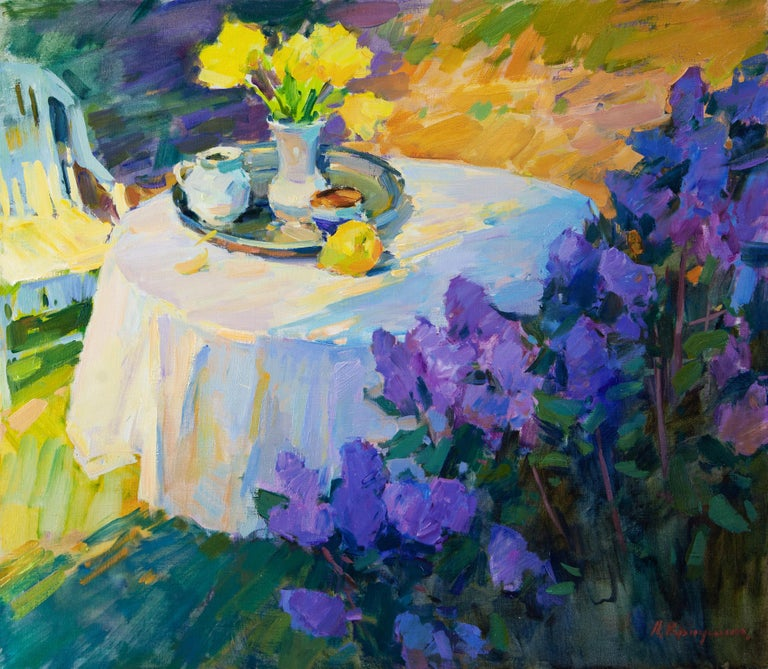 Aleksandr Kryushyn Landscape Painting - Still Life In The Spring Garden