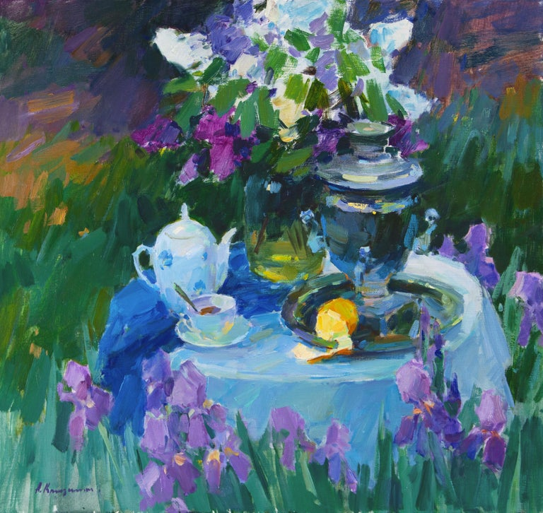 Aleksandr Kryushyn Still-Life Painting - Evening in the Spring Garden