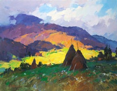 Mountain Air -Landscape Painting Oil Blue Yellow Brown Green White Orange Purple