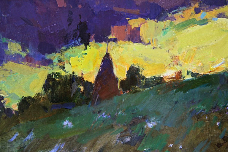 Mountain Air -Landscape Painting Oil Blue Yellow Brown Green White Orange Purple For Sale 2