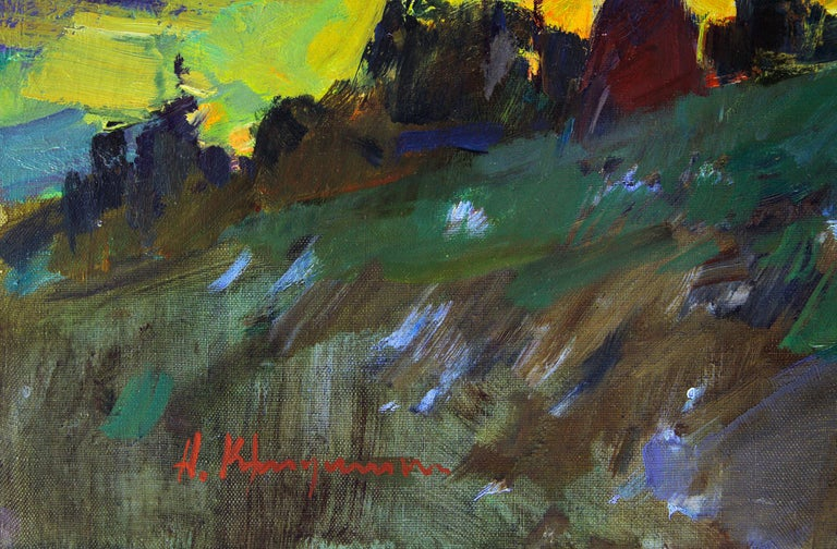 Mountain Air -Landscape Painting Oil Blue Yellow Brown Green White Orange Purple For Sale 3
