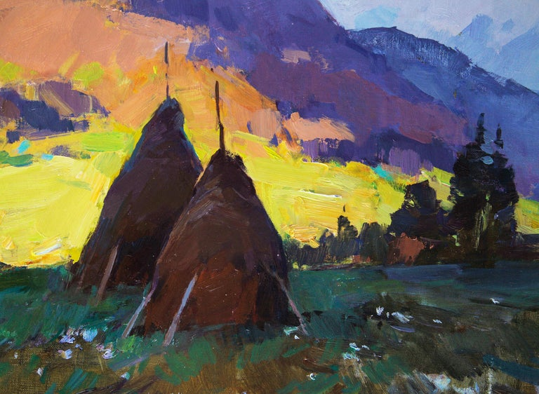 Mountain Air -Landscape Painting Oil Blue Yellow Brown Green White Orange Purple For Sale 4