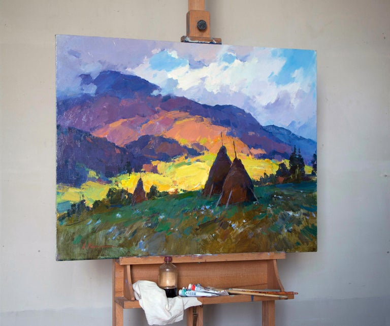 Mountain Air -Landscape Painting Oil Blue Yellow Brown Green White Orange Purple For Sale 1