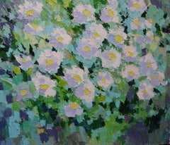 Daisies -  Still Life Oil Painting Green Brown Blue Yellow White Pink Purple