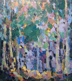 Dawning - Landscape Oil Painting Grey Green Brown Blue Yellow White Pink Purple