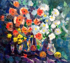Impressions  - Still Life Painting Green Brown Blue Yellow White Pink Purple