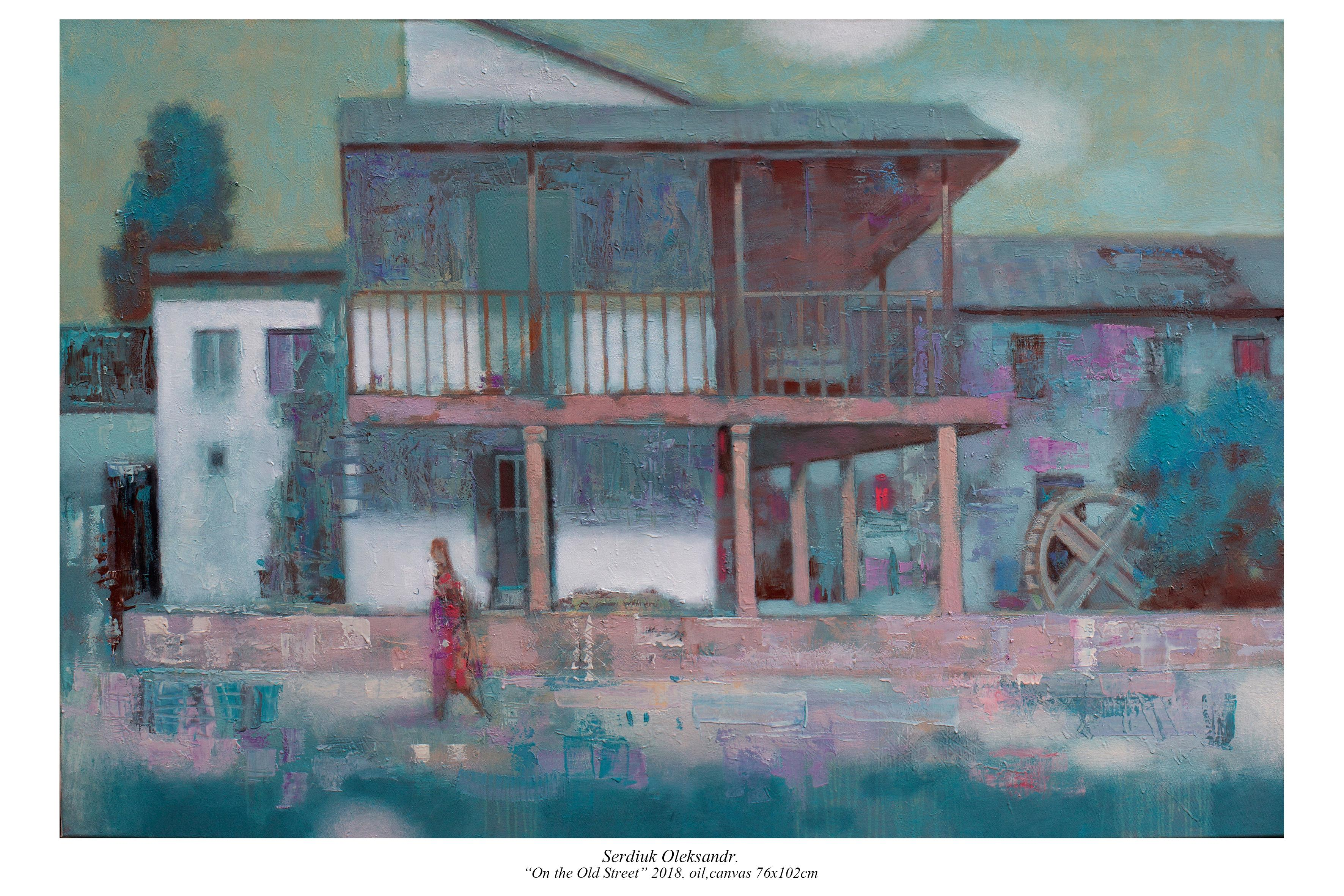 In the Old Street - Landscape Painting Colors White Green Blue Pink Pastel Brown