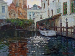 The Bruges Canals - Landscape Oil Painting Colors Blue Green Brown White Red