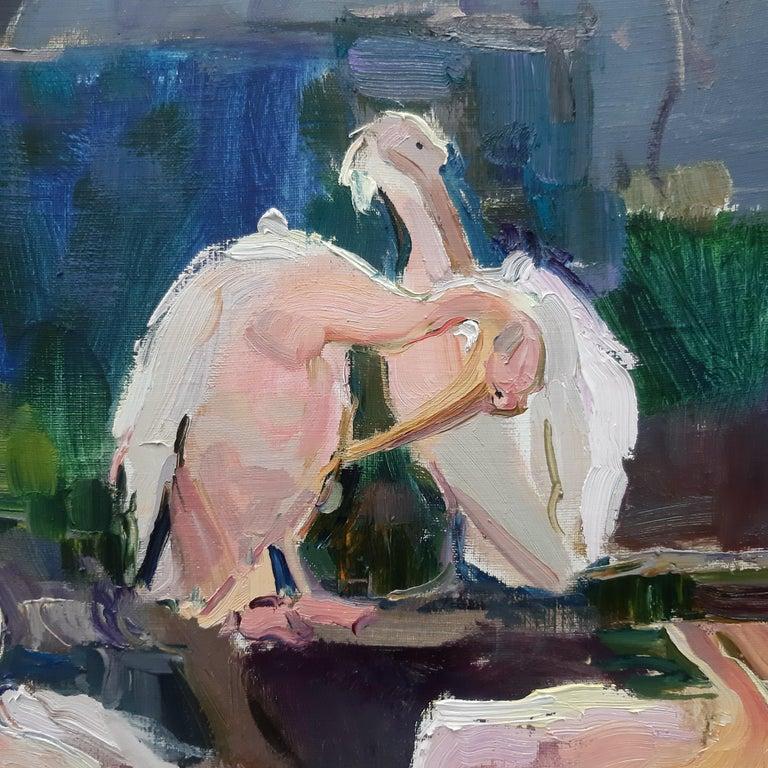 Pelicans  - Impressionist Painting by Alina Khrapchynska