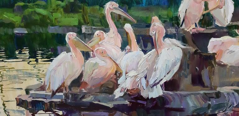 Pelicans  - Painting by Alina Khrapchynska