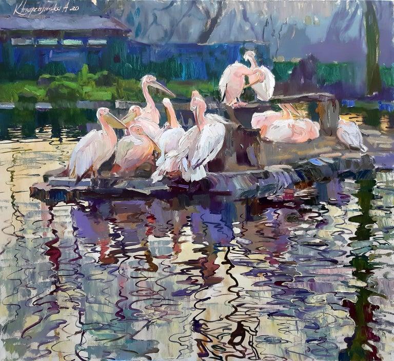 Alina Khrapchynska Landscape Painting - Pelicans