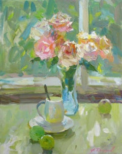 Tenderness Still Life Painting Oil Canvas Color Green Yellow Orange Blue Pink