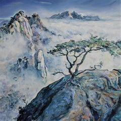 Misty Mountains Landscape Painting Oil Canvas Color White Green Blue