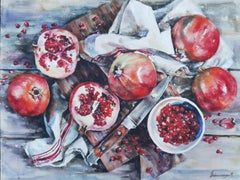 Still Life With Pomegranates - Painting Aquatint Pastel Color Red Grey White