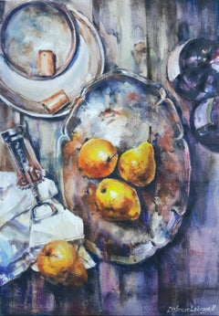 Still Life With Pears - Painting Aquatint Pastel Color Yellow Grey White